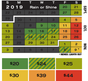 Calendar with 2019 group rates