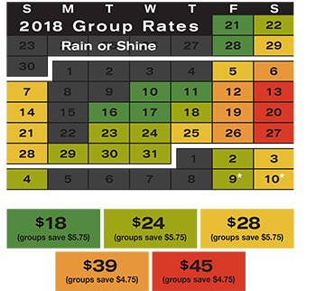 Calendar with 2018 group rates