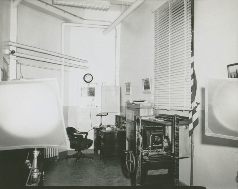 Eastern State's mug shot photography area, c. 1969. Today, this space is part of the staff's offices. Photo: collection of Eastern State Penitentiary Historic Site, gift of Dr. Joseph L. Ross.
