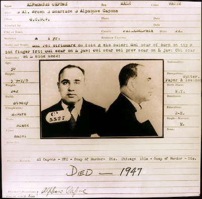 Bertillion Card and Mugshot, Al Capone